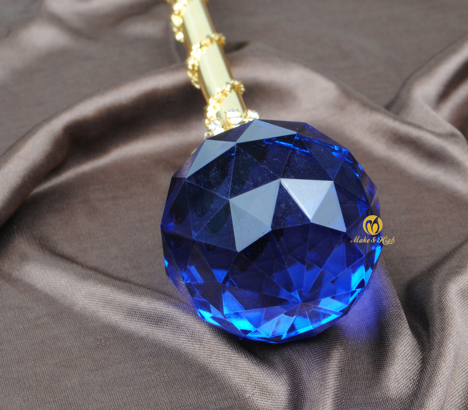 Blue Crystal Scepters Wand Handmade Round Ball Sceptres Gold Tone Wedding Bridal Pageant Party Costumes Props Accessories