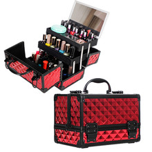 Women Aluminum Alloy Cosmetic Cases With Mirror Makeup Box Travel Beauty Tattoos