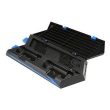 PS4 Vertical Stand Multi-functional Cooling Fan Dual Charging Station for Playstation 4 Dua Charger Black