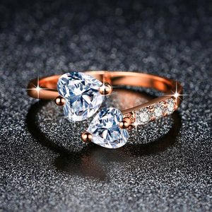 ZHOUYANG Adjustable Rings For Women Double Heart Zircon 3 Color Open Finger Ring Proposal Wedding Gift Fashion Jewelry KAR353