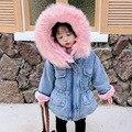 Верхняя одежда для маленьких девочек, плюшевая джинсовая куртка, зимняя джинсовая куртка для маленьких девочек с мехом, теплое пальто, иску...