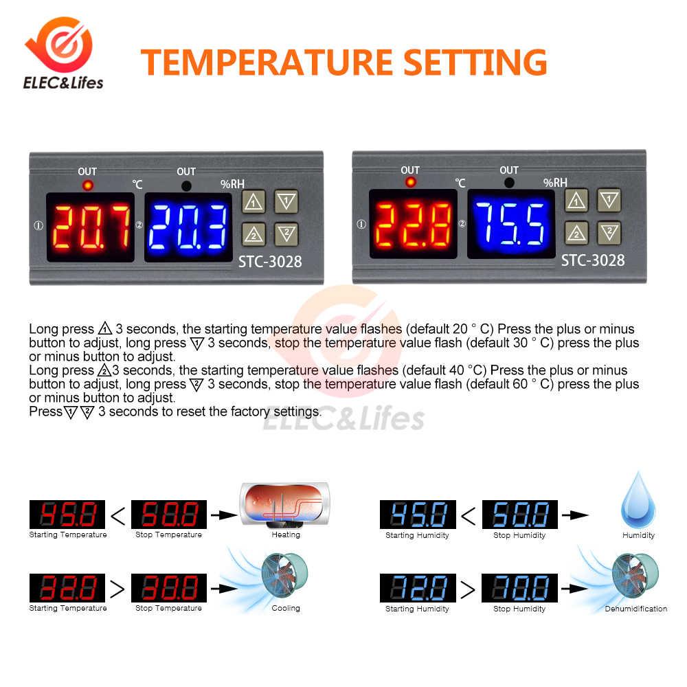 Digital Thermostat Hygrostat อุณหภูมิความชื้น Controller AC 110V-220V DC 12V 24V ตัวควบคุมเครื่องทำความร้อนควบคุม STC-3028