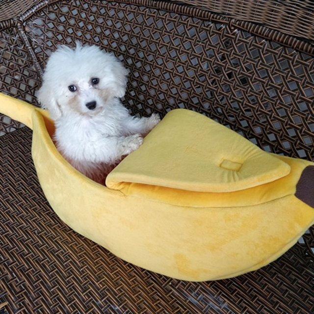 Funny Banana Shape Pets Cat Bed House Cozy Cute Banana Puppy Cushion   2