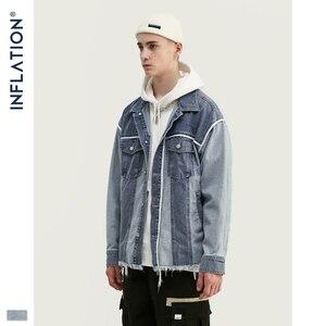 Image 3 - Inflação denim jaqueta masculina solto ajuste jeans jeans jaqueta poker oversized streetwear denim jaqueta em stonewash azul 9717 w