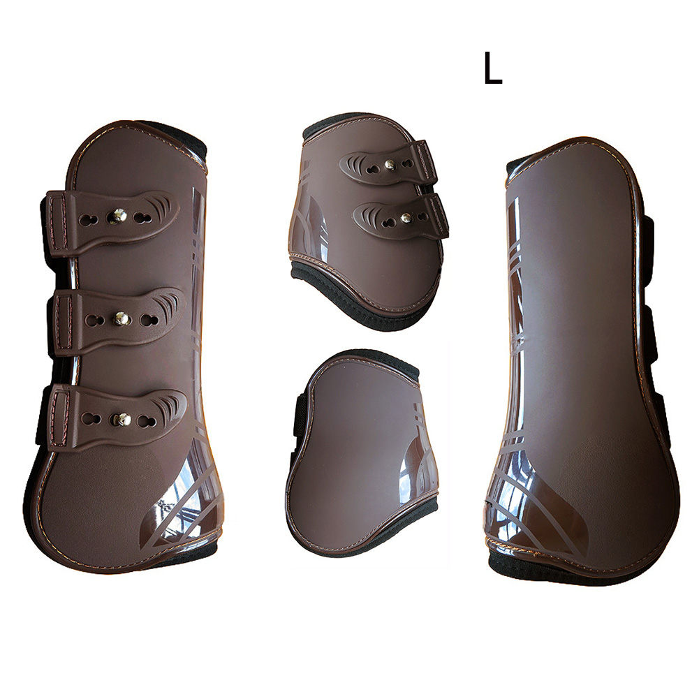 Equestrian Durable Riding PU Leather Adjustable Horse Leg Boots Guard Training Protection Wrap Front Hind Brace Outdoor Farm