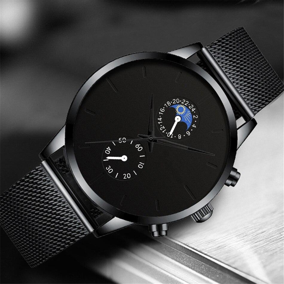 H929ac65566d1477ea2a9b0ad189bc114a Fashion Mens Business Black Watches Luxury Stainless Steel leather Belt Watch Quartz Men Wrist Watch Relojes Hombre