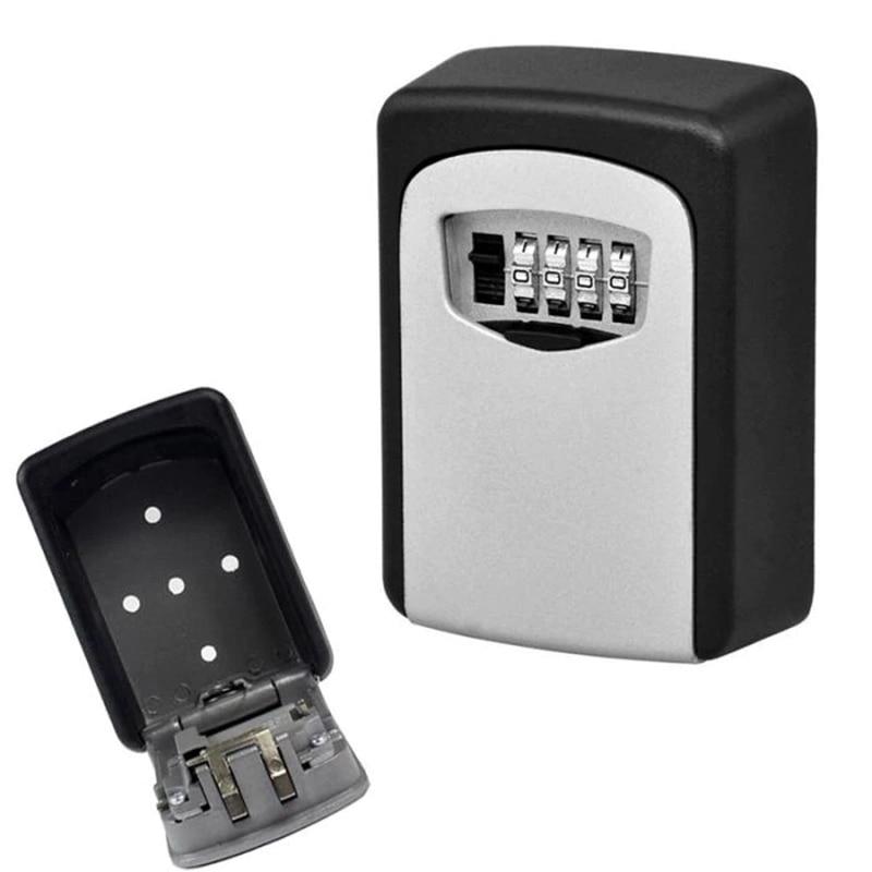 Anti-thief  Wall Mounted Outdoor Key Storage Lock Box 4-Digit Combination Password Key Safe Box Resettable Code Key Holder Hider