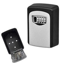 Caja de bloqueo de almacenamiento de llave de exterior montada en la pared Anti-ladrón caja de seguridad de clave de contraseña de combinación de 4 dígitos clave de código reiniciable Hider