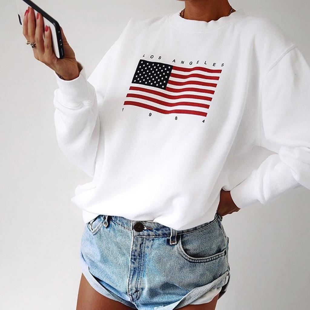 Eua impressão da bandeira nova moda feminina manga longa camisola com capuz harajuku jumper pulôver casual solto branco chique topos