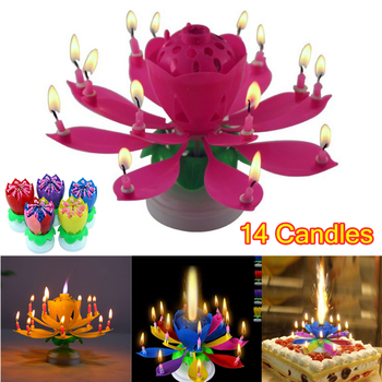 New Birthday Cake Music Candles with 14 Candles Lotus Flower Christmas Festival Decorative Music Wedding Party Decoration birthday candel christmas wax rabbit candele decorative natalizie natale candles wedding decoration bengalas de boda fete 92