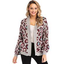 Осенне зимние вязаные леопардовые свитера для женщин открытый