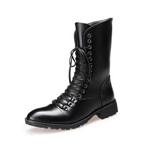 Image 5 - Thương hiệu Ý thiết kế nhà cao cấp thời trang Giày cổ cao da thật chính hãng Da Giày buộc dây thu đông dài Boot zapatos de hombre bota masculina