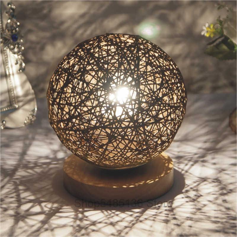 Nowoczesna wiklinowa kula ratanowa biurko lampy do sypialni księżycowa noc światła drewna Led stojąca lampa lampy stolik nocny Home Decor