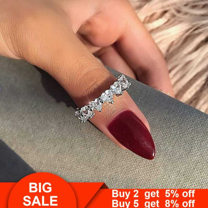 2019 Heart Cross Promise ring 925 Sterling silver AAAAA Cz Stone Party Wedding Band Rings for women Bridal Engagement Jewelry