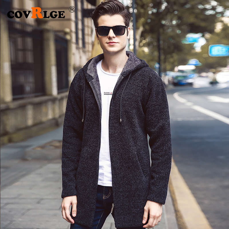 New Autumn Winter New Casual Medium and Long section Sweater Zipper Fashion Solid Pockets Knit Outwear Coat Sweater Men MWK009