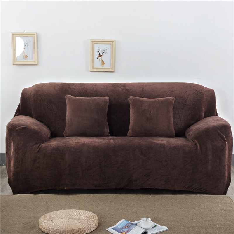 Thicken Plush Elastic Sofa Covers for Living Room Sectional Corner Furniture Slipcover Couch Cover 1/2/3/4 Seater Solid Color