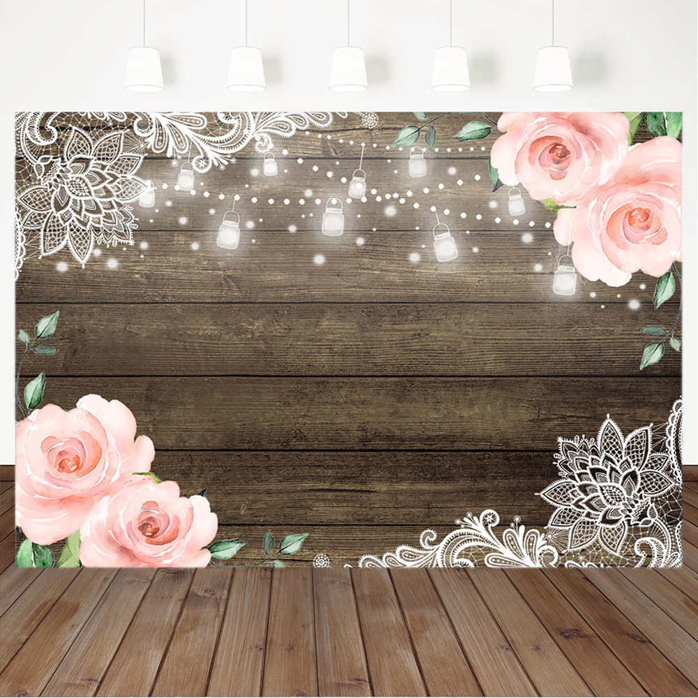 Rustic Floral Wooden Backdrop Baby Shower Bridal Wedding