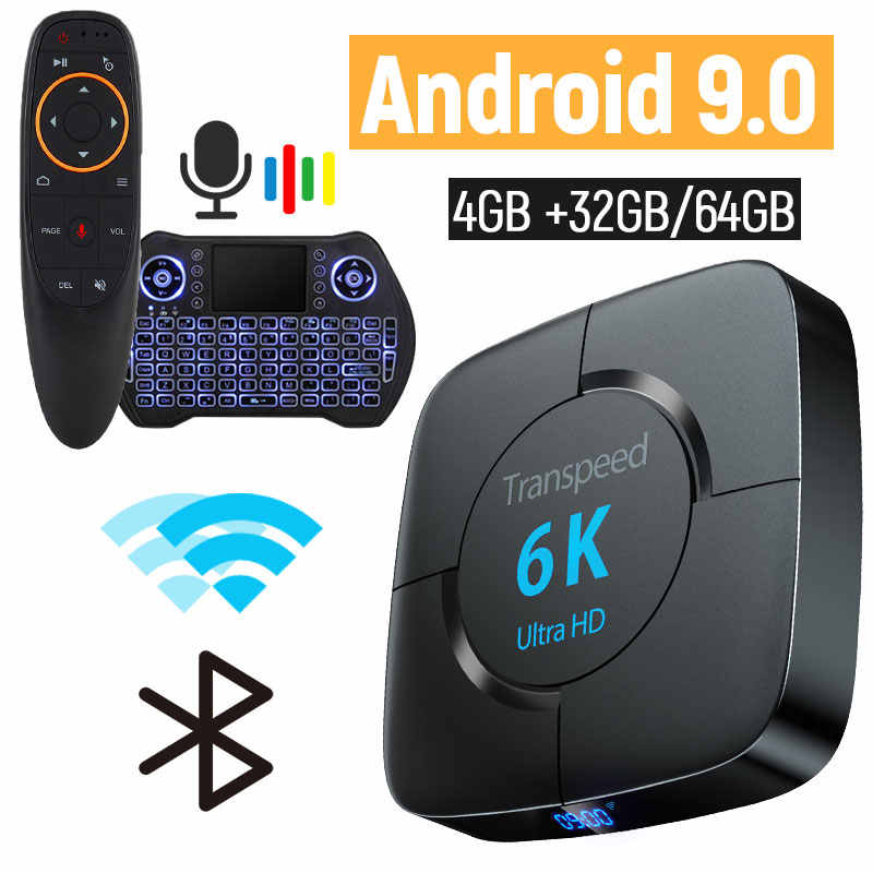 Android 9.0 6k caixa de tv 4 gb ram 64 gb youtube google voz assistente tv caixa 2.4g & 5 ghz wifi bt 3d caixa superior media player