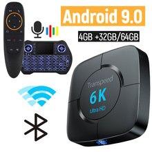 أندرويد 9.0 6k صندوق التلفزيون 4GB RAM 64GB يوتيوب جوجل صوت مساعد صندوق التلفزيون 2.4G & 5GHz واي فاي BT ثلاثية الأبعاد مشغل وسائط تي في بوكس