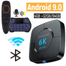 Android 9.0 6k TV Box 4GB di RAM 64GB Youtube Google Assistente Vocale Tv Box 2.4G & 5GHz Wifi BT 3D Top Box Media Player