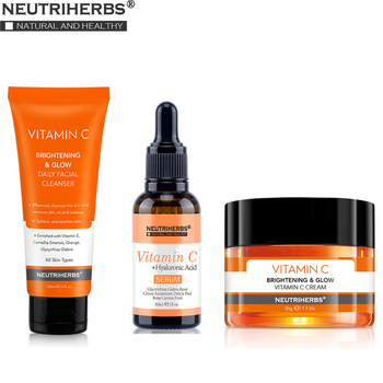 Neutriherbs Vitamin C Serum Face Cleanser Face Cream Cleaning Moisturizing Anti Wrinkle Anti Aging Best Skin Care Set Kit 1