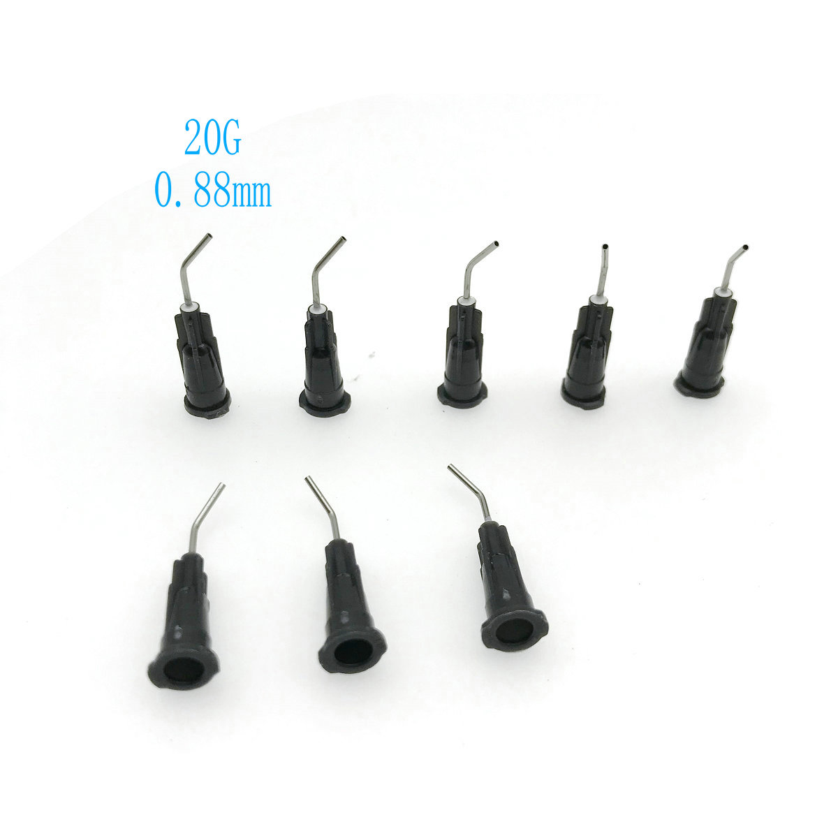 100Pcs Dental Bent Needle Tip Dental Composite Resin Rinse Elbow Black ( 20G/25G For Your Selection)