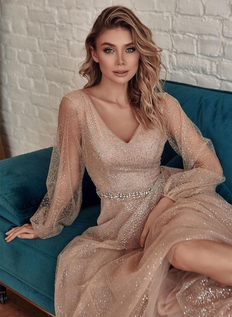 Купить vestidos de noiva шампанское блестящие вечерние платья 2021