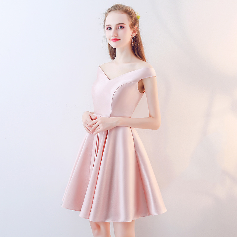 Women's short formal prom evening gown plus size off shoulder satin evening party dress Ceremony pink red party evening dress