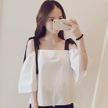 Summer Women T-shirt Fashion Off Shoulder Sling Top For Loose Casual White Preppy Style Ladies Short Sleeve Tee shirts