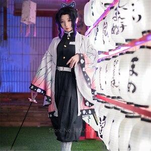 Japanese Anime Demon Slayer Kimetsu no Yaiba Kochou Shinobu Cosplay Costume Women Kimono Halloween Carnival Party costume Wig(China)