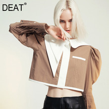 Top-Coat Asymmetric Spring Long-Sleeve Women Casual Summer And DEAT Short SH160 Contrast-Collar