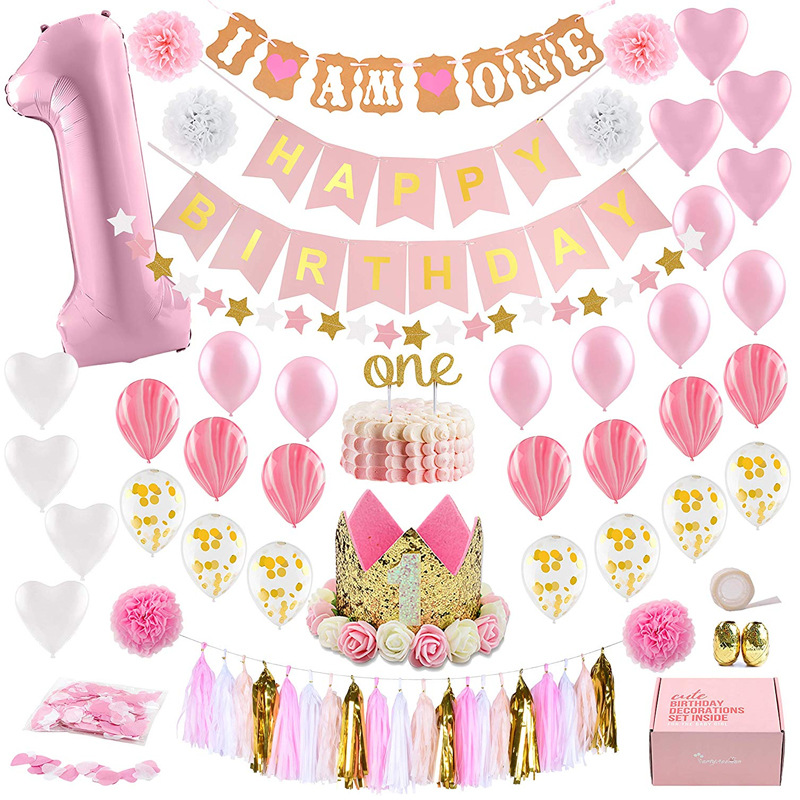 1 Year Old Theme Baby Party Decorations Set Newborn Baby Girls Birthday Party Baby Shower Party Children's Day