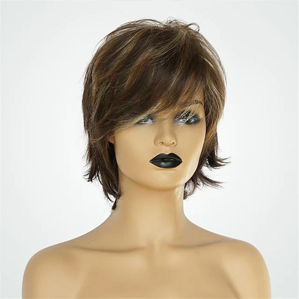 Human Hair Blend Costume Wig Natural Straight Short pixie cut Style Women Short Capless short hair wigs 10 Inches