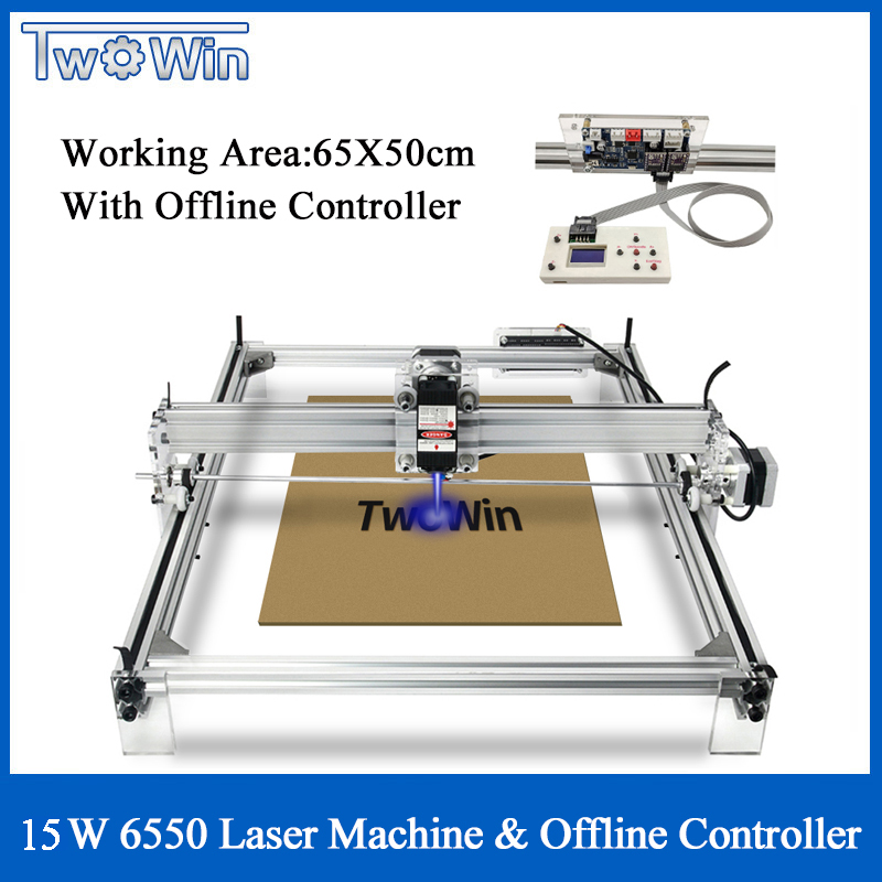 15W Adjusted Focus CNC 6550 Machine Desktop DIY Big Laser Engraving Machine CNC Printer Working Area 65x50cm Offline Controller