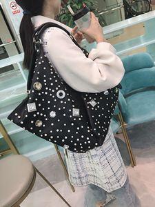Image 2 - Bolso de gran capacidad para mujer, bolsa femenina con diamantes de imitación, bolsas de mensajero de hombro, estilo europeo y americano, 2020