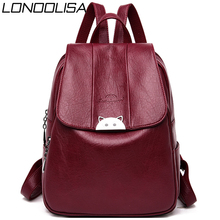 Mochila Feminina  Back Pack Soft Leather Women Backpack High Quality Bagpack School Bags for Teenage Girls 2019 Sac A Dos Femme