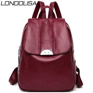 Image 1 - Mochila Feminina  Back Pack Soft Leather Women Backpack High Quality Bagpack School Bags for Teenage Girls 2019 Sac A Dos Femme