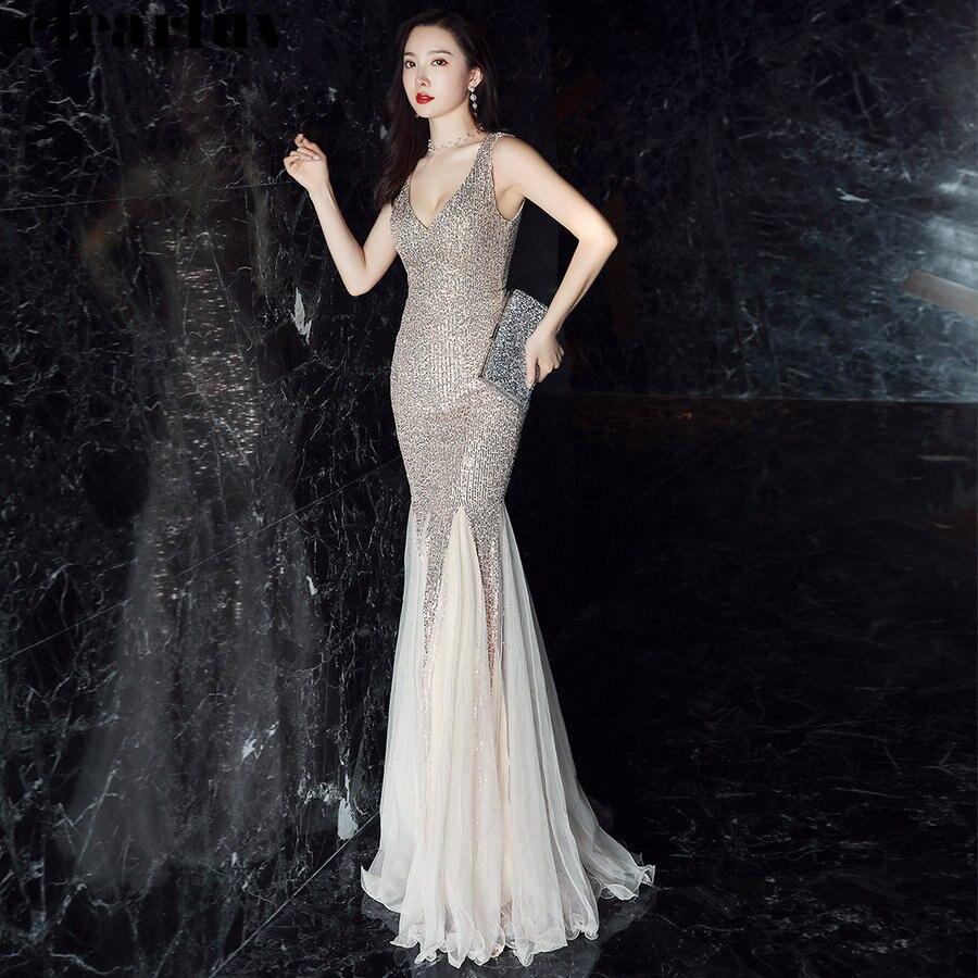 Sexy Sleeveless Mermaid Evening Dresses Robe De Soiree Plus Size Women Party Dresses DX235-3 2019 Gold V-Neck Sequins Prom Dress