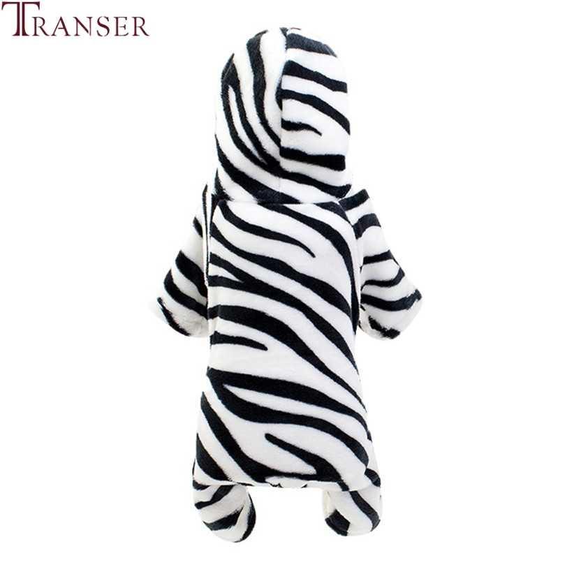 Transfer Zebra Baskı Sıcak Polar Köpek Tulum Dört ayaklı Hoodie Pet Köpek Coat Kış Yavru Köpek Giyim Evcil Hayvan Eşofman pijama 9828