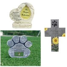 Лапа печать ПЭТ памятный камень щенок надгробный камень сувенир животное памятный камень сад задний двор памятник питомца gedenkteken steen Z925