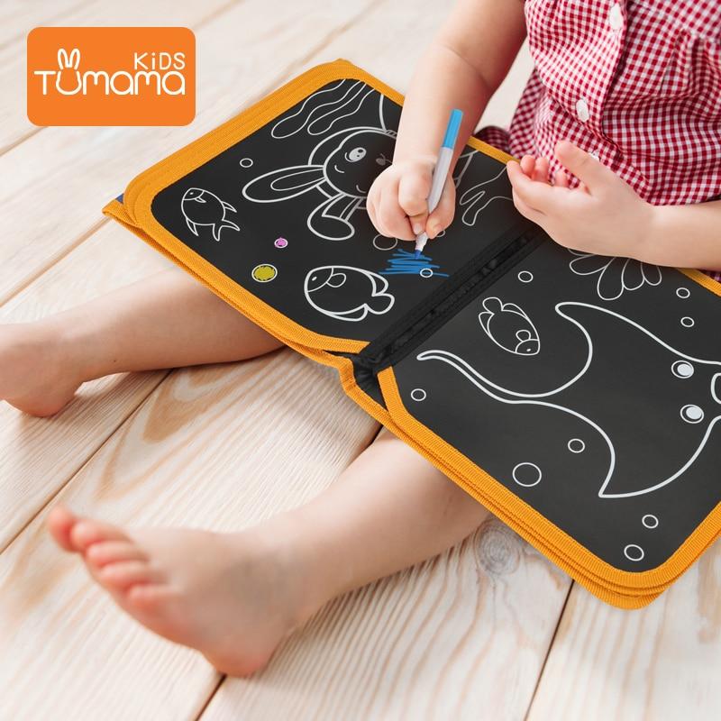 Tumama Portable Drawing Board Book Animal Marine Life Coloring Book DIY Blackboard Painting Drawing Board Felt-tip Pens