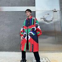 2019 autumn new Thai street fashion color printed loose lantern sleeves long coat men's casual wild windbreaker Hip Hop Red