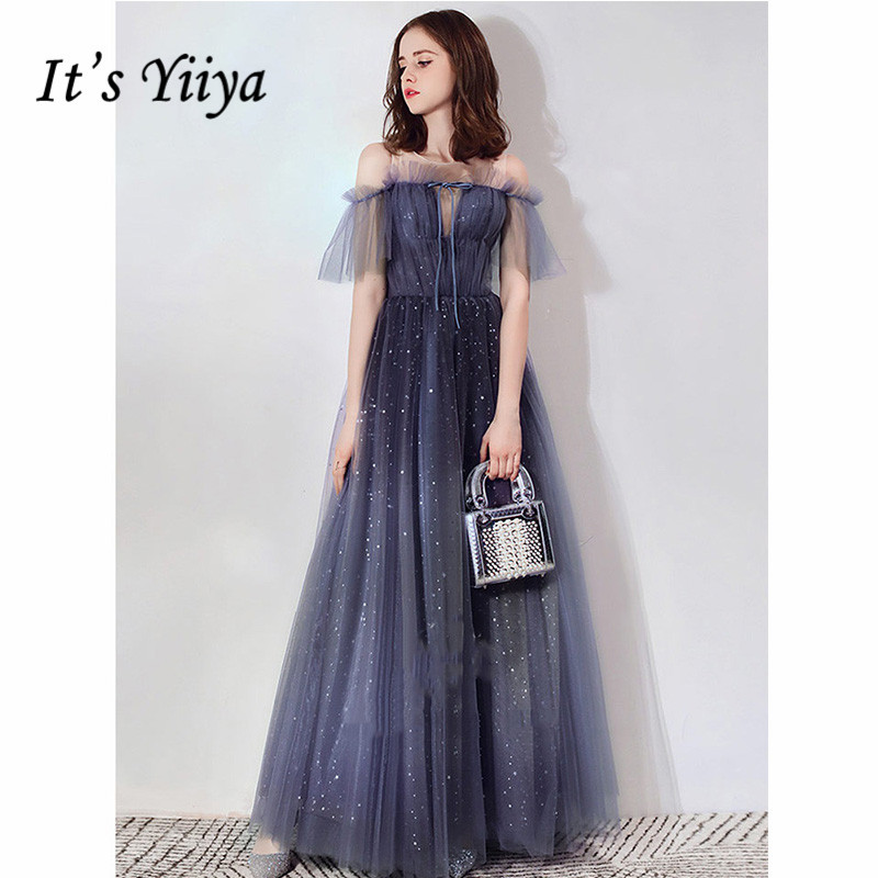 It's Yiiya Evening Dress 2019 Contrast Color Boat Neck Shining A-Line Dressses Plus Size Elegant Long Party Robe De Soiree E1082