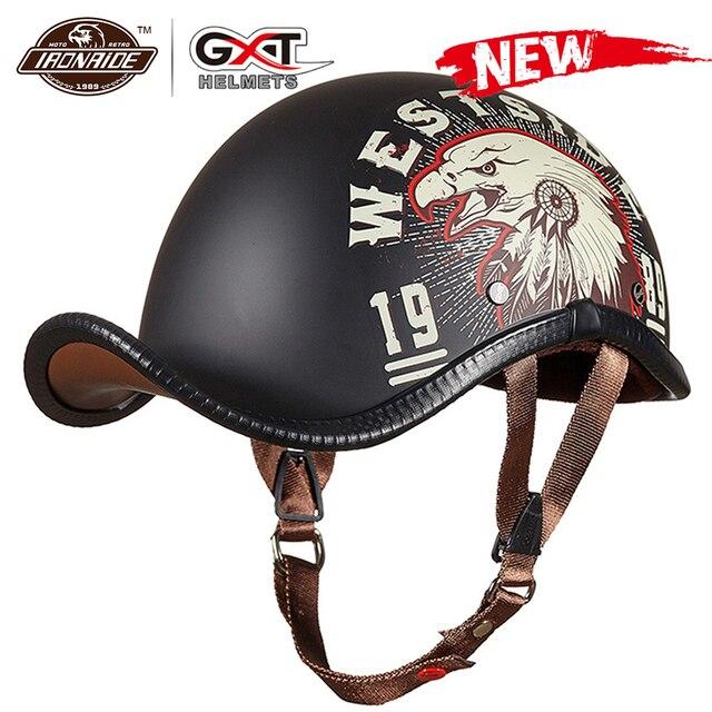 Gxt novo capacete da motocicleta do vintage retro metade motocross capacete aberto rosto casco moto capacete de corrida equitação