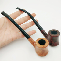 New 1pcs High grade Long Wooden Bruyere Smoking Pipe Brown Wood Tobacco Pipe With 3mm Filter For Weed With Pipe Pouch P85626