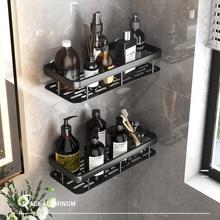 Drill Free Wall Mounted  Bathroom Shelf Black Aluminum  Square Shampoo Shelf Cosmetic Shelves Kitchen Nets Shelf Organizer Rack