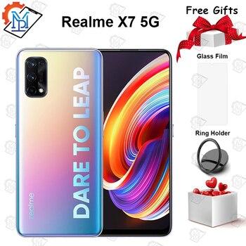 Перейти на Алиэкспресс и купить Realme X7 5G мобильный телефон 6,4 дюймов 6 ГБ + 128 Гб MediaTek 800U Восьмиядерный 64MP Quad камеры 4300 мА/ч, 65 Вт быстро Зарядное устройство смартфона