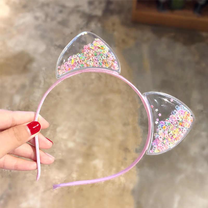 Новые милые разноцветные Блестки для девочек, ободки с кошачьими ушками, Детская милая лента для волос головной убор ободок, модные детские аксессуары для волос
