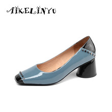 AIKELINYU Blue Women Rivets Full Genuine Leather Pumps Fashion High Heel Square Head Office Ladies Shoes Woman Thick heel