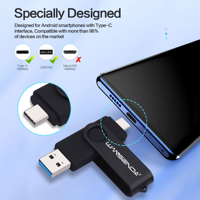 New WANSENDA USB 3.0 TYPE C USB Flash Drive OTG Pen Drive 512GB 256GB 128GB 64GB 32GB 16GB USB Stick 2 in 1 High Speed Pendrive 6